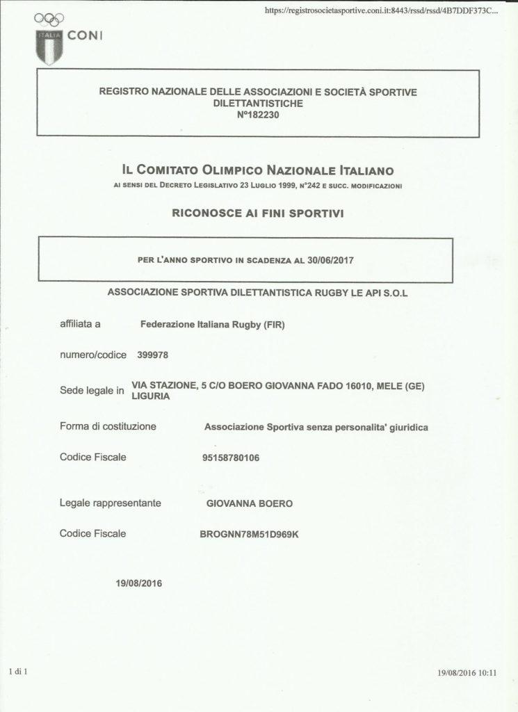registrazione Coni anno sportivo 2016-2017